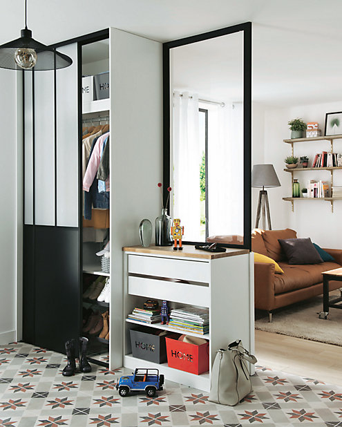 2 Portes De Placard Coulissantes Noires Atelier 120 X 250 Cm Castorama