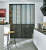 2 portes de placard coulissantes Vulcano décor gris béton 180 x 245 cm