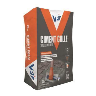 Ciment colle sp cial ext rieur vpi gris 25kg castorama for Colle dalle beton exterieur
