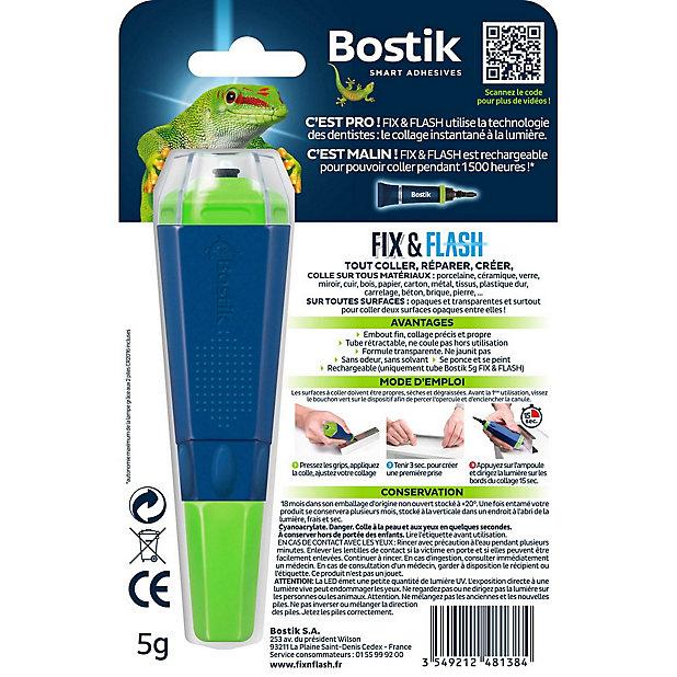 Colle de Réparation Bostik Fix & Flash (Colle Forte Photoactive) Applicateur et Tube 5g