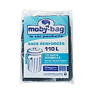 10 sacs poubelle renforcés noirs 110L