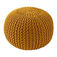 Pouf 45 x 30 cm tricot jaune