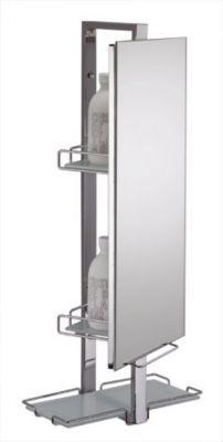 Armoire de toilette Vertigo - Cadre en acier chromé brillant - Miroir pivotant - 2 balconnets, 1 étagère - Dimensions : hauteur 70,4 x longueur 30 x profondeur 19 cm - Normes : CE -