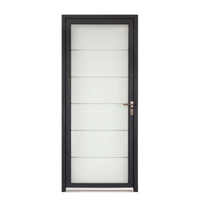 Porte D Entree Aluminium Alana Gris 90 X H 215 Cm Poussant Gauche