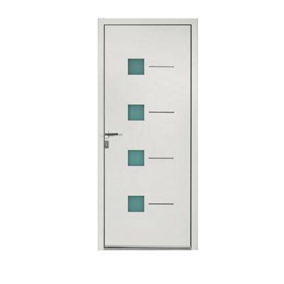 Porte d'entrée aluminium Aurélia blanc 90 x h.215 cm poussant droit