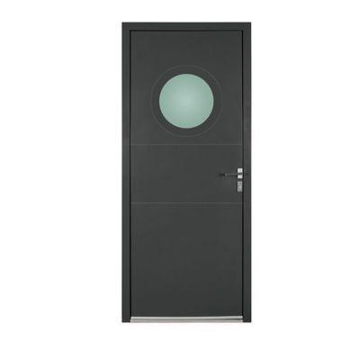 Porte d'entrée aluminium Angela gris 90 x h.215 cm poussant droit