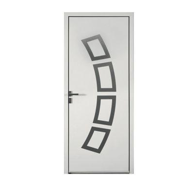 Porte d'entrée aluminium Andréa blanc 90 x h.215 cm poussant gauche