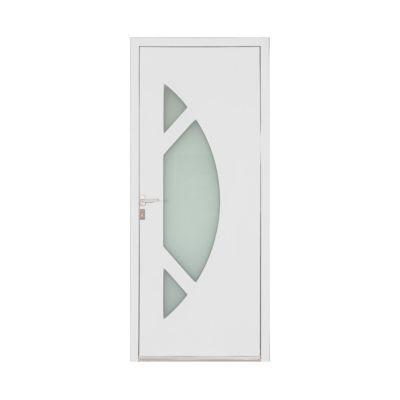 Porte d'entrée aluminium Amanda blanc 90 x h.215 cm poussant droit
