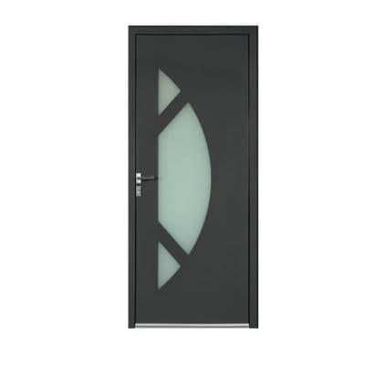 Porte d'entrée aluminium Amanda gris 90 x h.215 cm poussant droit