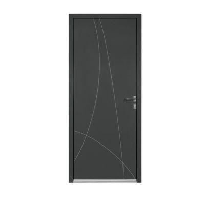 Porte d'entrée aluminium Alicia gris 90 x h.215 cm poussant droit