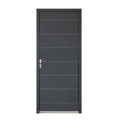 Porte d'entrée aluminium Alexandra gris 90 x h.215 cm poussant droit