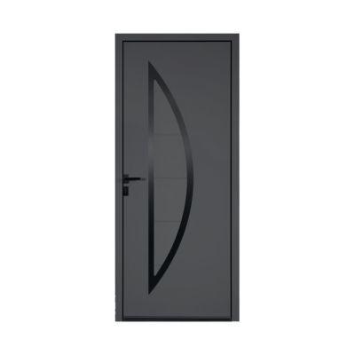 Porte d'entrée aluminium Adora gris 80 x h.215 cm poussant droit