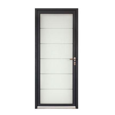 Porte d'entrée aluminium Alana gris 80 x h.215 cm poussant droit