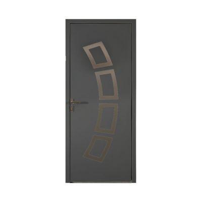 Porte d'entrée aluminium Andrea gris 80 x h.215 cm poussant droit