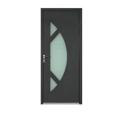 Porte d'entrée aluminium Amanda gris 80 x h.215 cm poussant droit