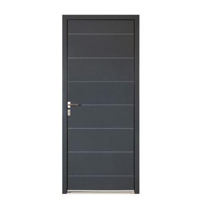 Porte d'entrée aluminium Alexandra gris 80 x h.215 cm poussant droit