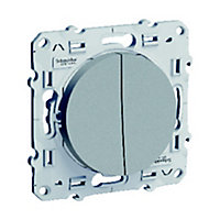 Va et vient + poussoir Schneider electric Odace Aluminium