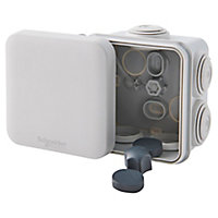 Boîte de dérivation carrée extérieure avec 7 passe-câbles et système de verrouillage Schneider Mureva 65x 65x 45mm, IP55, GRISE 1PC