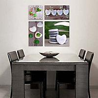 Set de 4 toiles sur châssis Galet Zen 57 x 62 cm