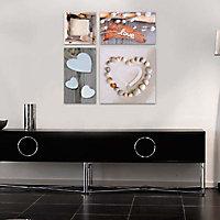 Set de 4 toiles sur châssis Love et Galets 57 x 62 cm