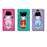 Lot de 3 affiches Kokeshi 10 x 15 cm