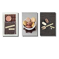 Lot de 3 affiches Macarons 10 x 15 cm