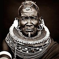 Toile imprimée Homme Tribu Africaine 75 x 75 cm