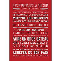 Toile imprimée Règles de la Cuisine rouge 45 x 65 cm