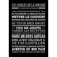 Toile imprimée Règles de la Cuisine noir 45 x 65 cm