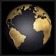 Toile Terre or et noir 75 x 75 cm