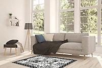 Tapis vinyle carreaux de ciment noir et blanc 49,5 x 83 cm