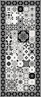 Tapis vinyle petits carreaux de ciment noir et blanc 49,5 x 116 cm