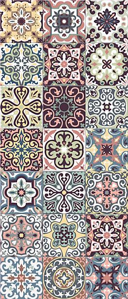 Tapis Vinyle Carreaux De Ciment Multicolore 49 5 X 116 Cm Castorama