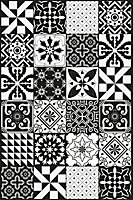 Tapis vinyle grands carreaux de ciment noir et blanc 98 x 148,5 cm