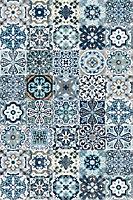 Tapis vinyle carreaux de ciment bleu 98 x 148,5 cm