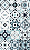 Tapis vinyle carreaux de ciment bleu 49,5 x 83 cm