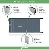 Portail Jardimat coulissant aluminium Valois gris 7016 sablé - 300 x h.180 cm