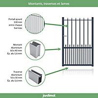Portillon Jardimat aluminium Landas gris 7016 - 100 x h.160/180 cm