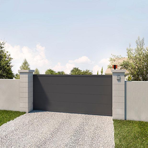 Portail Jardimat Coulissant Motorise Aluminium Quattro Gris 350 X H 160 Cm Castorama