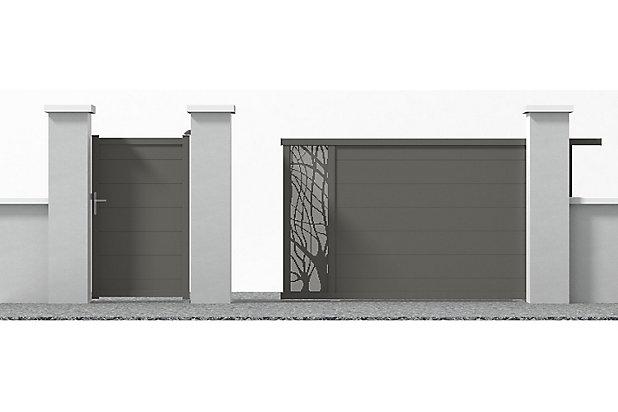 Portail Jardimat Coulissant Motorise Aluminium Frejus Gris Quartz 350 X H 166 Cm Castorama
