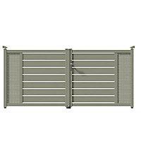 Portail aluminium Tarcenay gris 7030 - 300 x h.136 cm