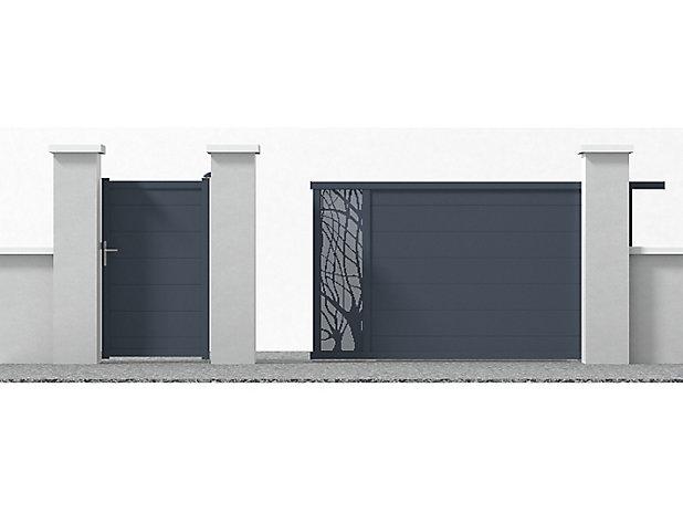 Portail Jardimat Coulissant Motorise Aluminium Frejus Gris 350 X H 170 Cm Castorama