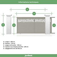 Portail Jardimat coulissant aluminium Neva 2 gris 7039 - 400 x h.174 cm