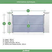 Portail Jardimat aluminium Chalon blanc 9016 - 300 x h.167 cm