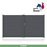 Portail Jardimat aluminium Chalon gris 7016 - 350 x h.167 cm