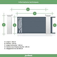 Portail Jardimat coulissant aluminium Fréjus gris 7016 - 350 x h.170 cm