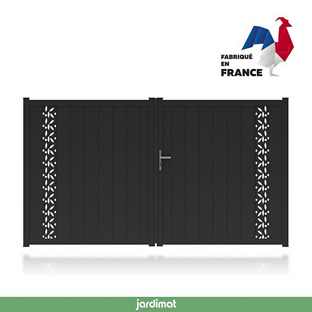 Portail Jardimat Aluminium Olivier Noir 2100 350 X H 172 Cm Castorama