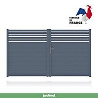 Portail Jardimat aluminium Wissant gris 7016 - 350 x h.159 cm