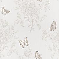 Papier peint vinyle Fleurs sweety taupe