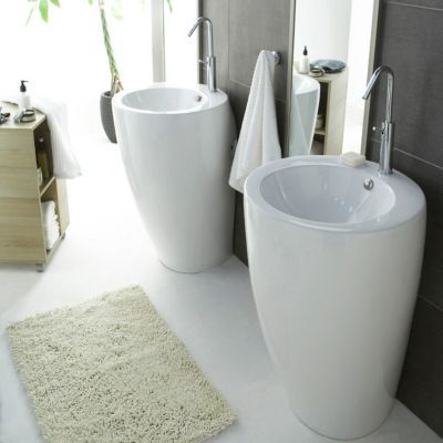 Lavabo ceramique blanc totem 55 cm castorama for Salle de bain design avec vasque en verre castorama